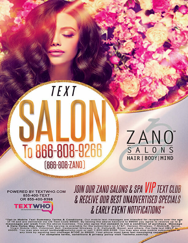 Sign Up For Zano Salons Text Marketing